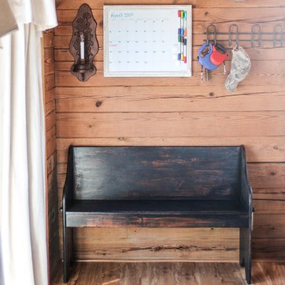 A church pew gets a dark & chippy makeover | On The Creek Blog