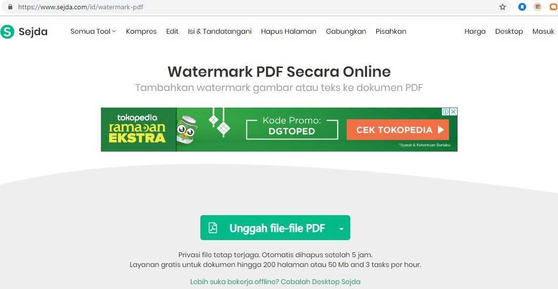 Sejda Watermark PDF