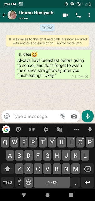 note via whatsapp dari ibu untuk anak