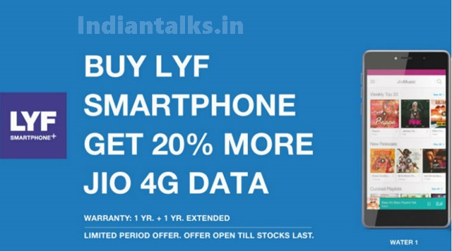 Reliance Jio offers 20 Percent Free Extra 4G Data on Lyf Smartphones Buyers