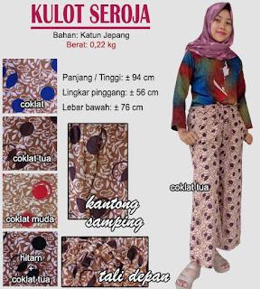 Celana kulot motif polkadot dan bunga cantik - seroja