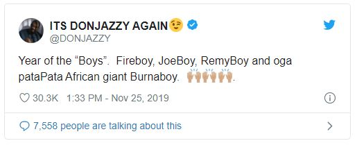 Don Jazzy celebrates Burna Boy, Fireboy & Joeboy for having a great 2019