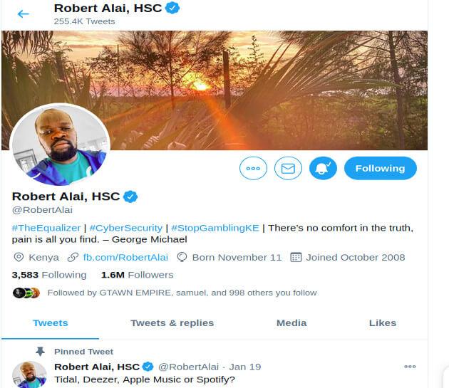 Robert Alai twitter handle photo