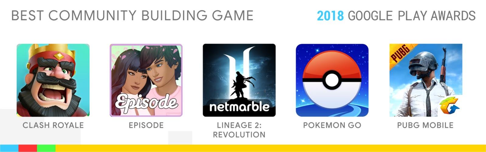 Best Community Building Game: Clash Royale, Lineage 2: Revolution, Pokémon GO, PUBG MOBILE