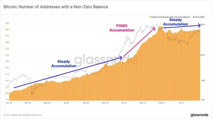 График ненулевых адресов BTC