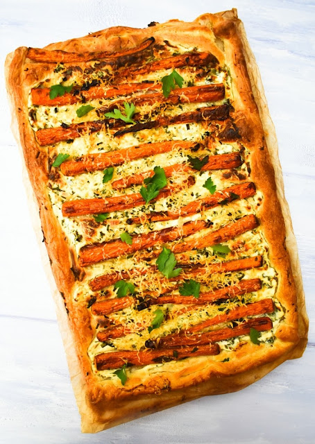 Scottish Baby Carrot & Chive Tart - step five - bake until golden