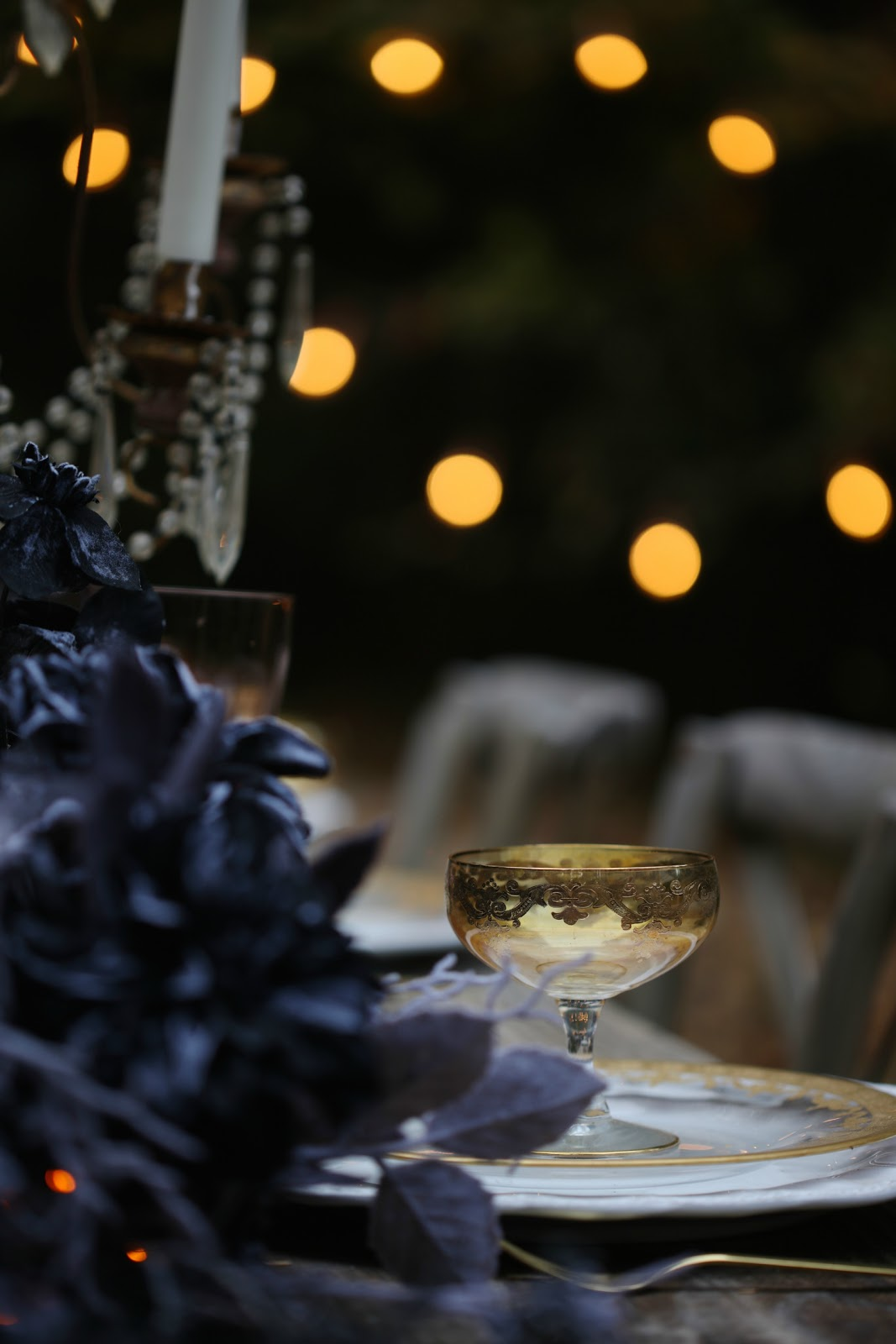 Spooky Elegant Halloween Table Setting