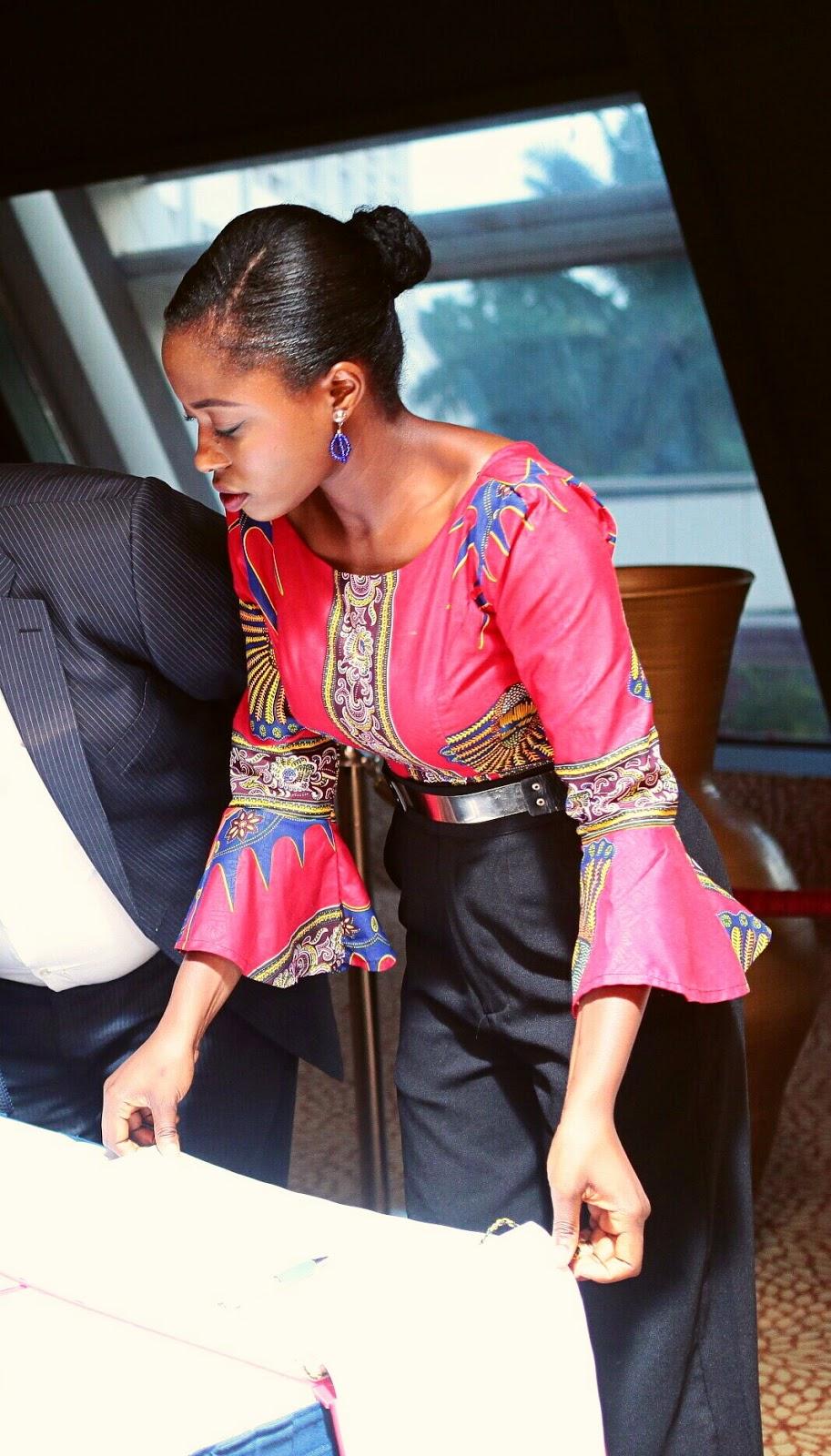 Ankara, flared sleeve top, bell sleeve top,  beaded earrings, gold metal plate belt