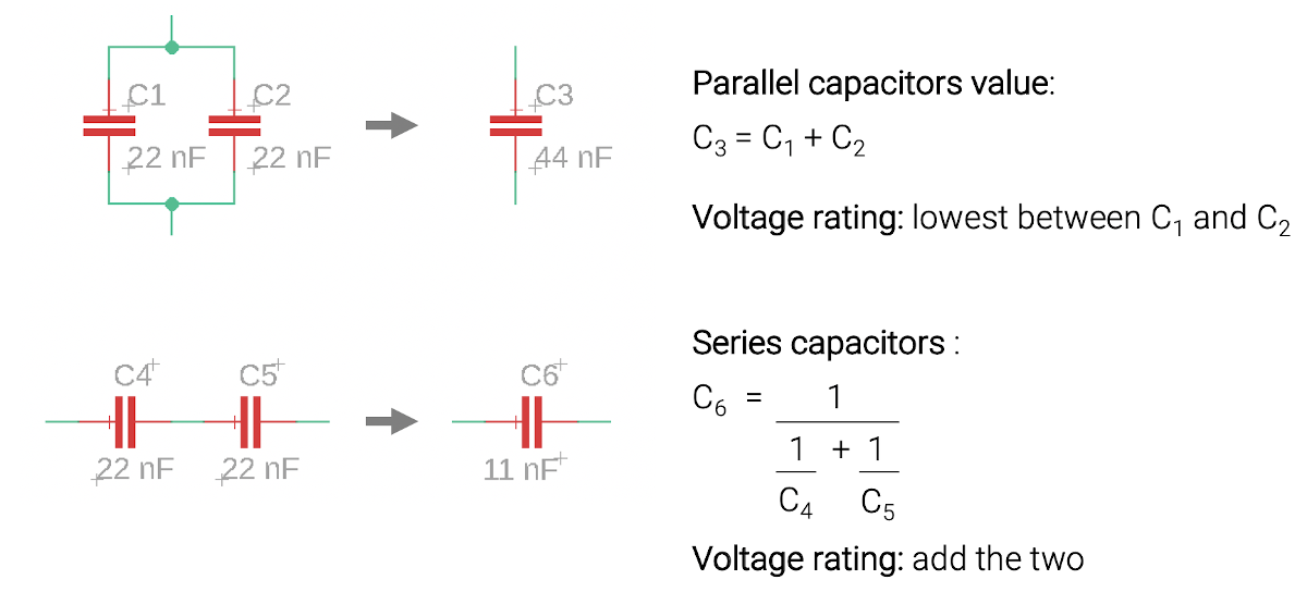 Capacitor parallel and series equivalents
