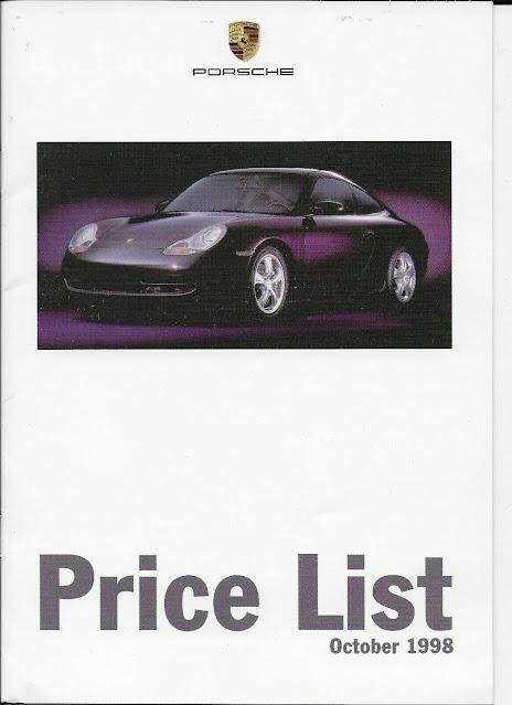 Porsche 911 996 Boxster Price List 1998