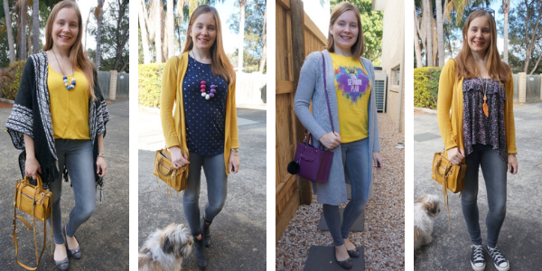 Yellow and Grey Skinny Jeans Outfits 4 ways to wear | away from the blue
