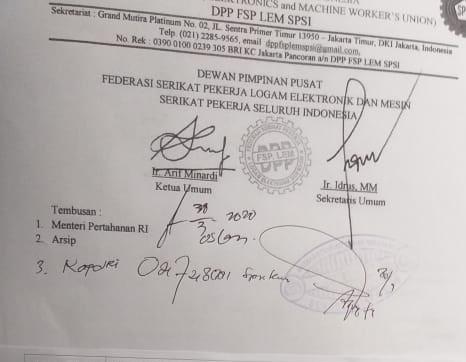 Surat Terbuka Ketua Umum F SP LEM SPSI Arif Minardi untuk Kapolri Jendral Pol.Drs.Idham,M.Si