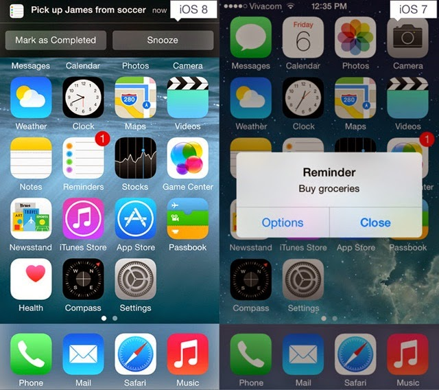 iOS 8 and iOS 7 OS 8 Interactive notifications