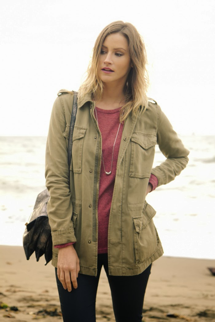 Vancouver fashion blogger, Alison Hutchinson, is wearing an Urban Outfitters military jacket, Cotton On oversized sweater, Zara coated skinny jeans, Vince Camuto brown suede ankle boots, and a silver Botkier Valentina bag.