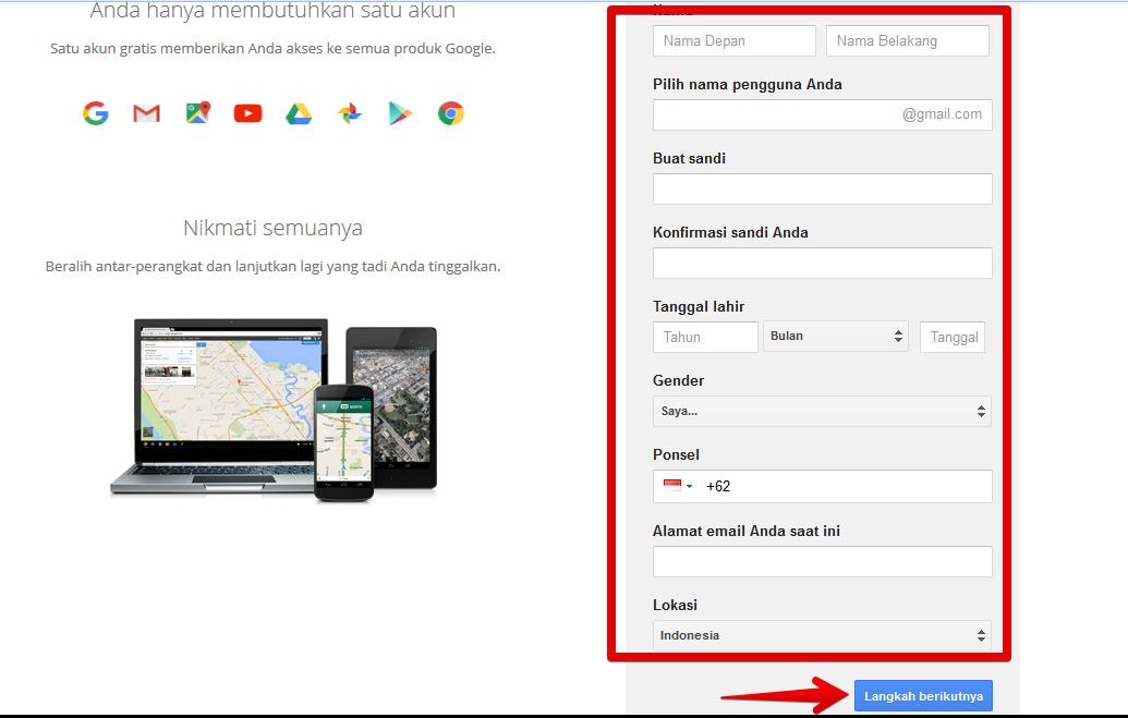 Form register akun gmail