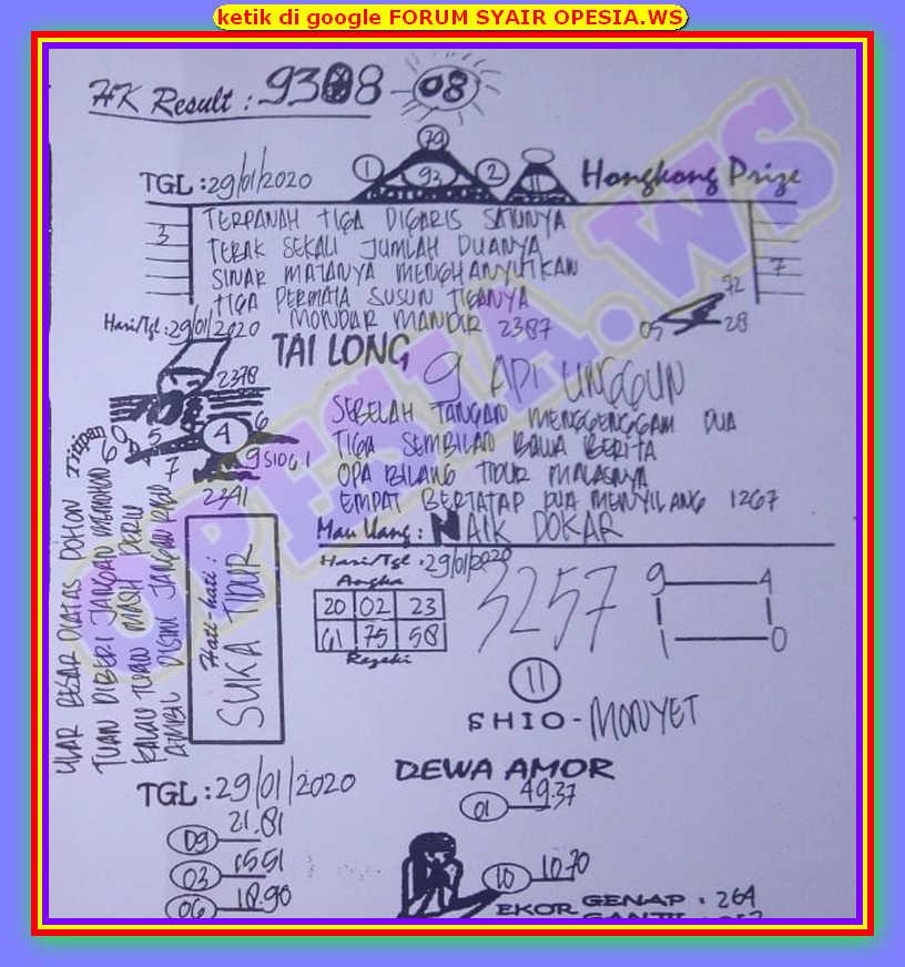 Kode syair Hongkong Rabu 29 Januari 2020 29