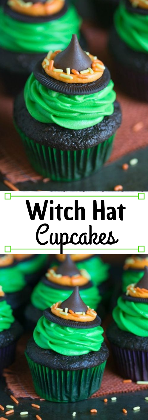 WITCH HAT CUPCAKES #desserts #pumpkin #brownies #pie #cakes