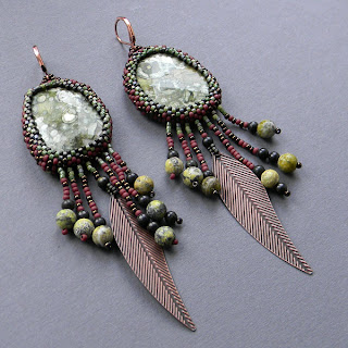 beaded earrings tribal jasper beadwoven stone green brown blog beadwork