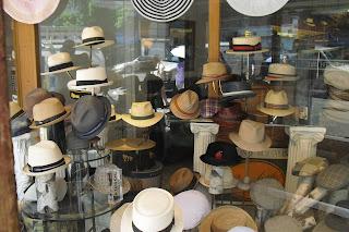 4b37d0c651bb6 A close-up of some of the summer hats in the window display.