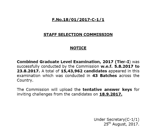 Answer Key of SSC Tier-1 2017 will be released on 18th September 2017