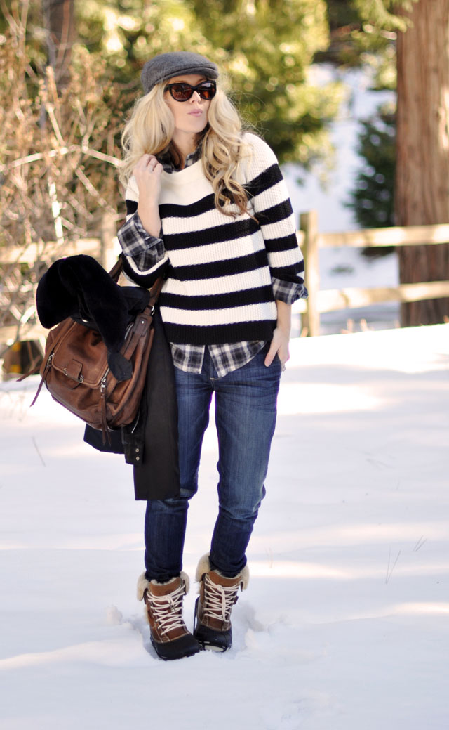 Winter style, stripes and plaid, newsboy cap, black and brown