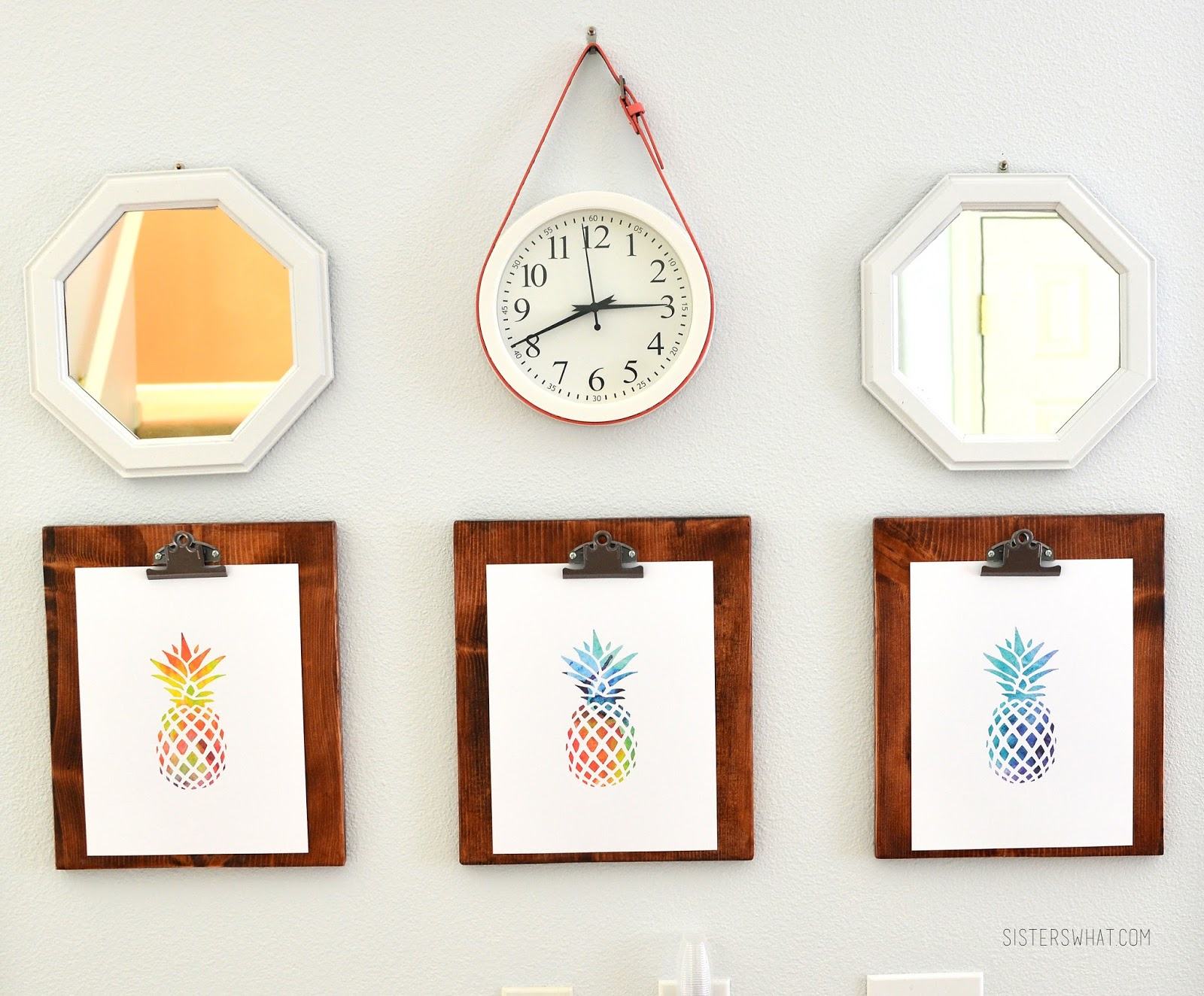 Add a colorful belt to a white, simple clock to add some color to a wall/room and DIY clipboards