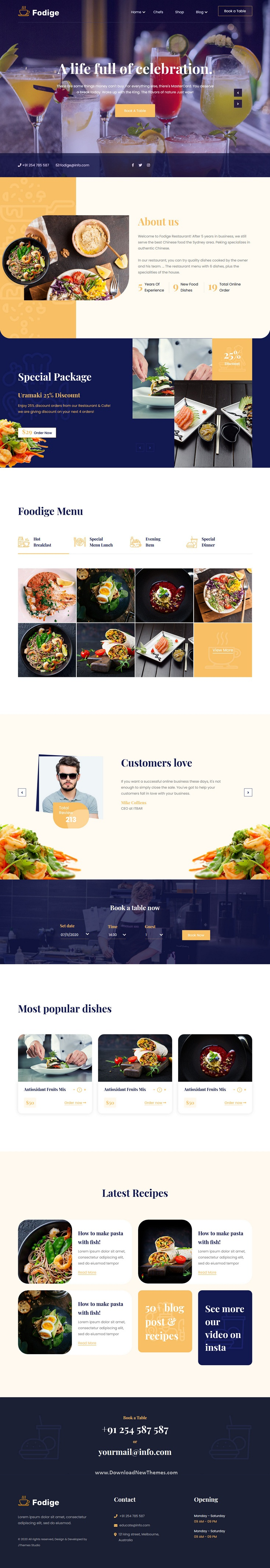 Fodige Restaurant Cafe HTML Template