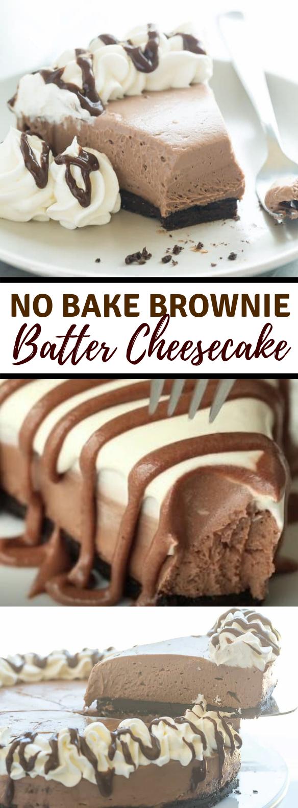 NO BAKE BROWNIE BATTER CHEESECAKE RECIPE #chocolate #desserts