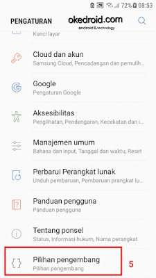 Pilihan pengembang developer options di pengaturan samsung galaxy j5 2016 android