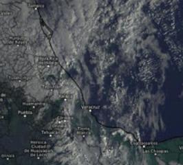 Cielo nublado con lluvias por entrada del frente frio numero 35