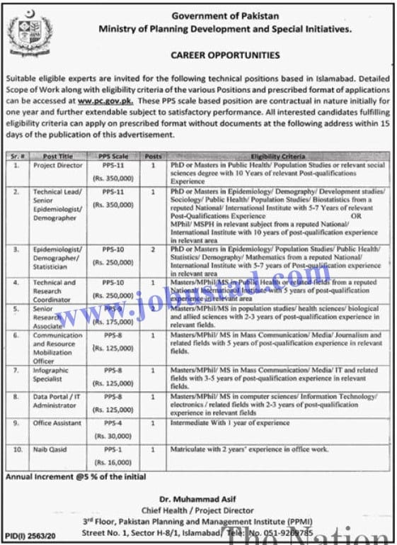 Jobs in Ministry of Planning and Development and Special Initiative Nov 2020