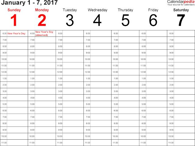 January 2017 Weekly Calendar