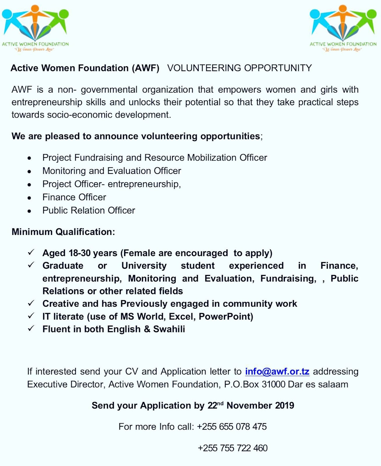 Volunteering Opportunities at Active Women Foundation (AWF ...