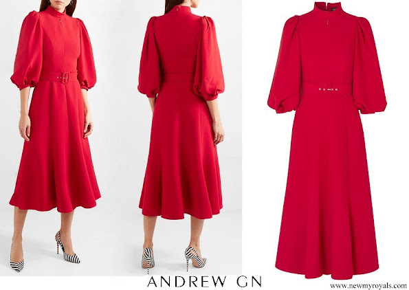 Queen Rania wore ANDREW GN Belted crepe midi dress