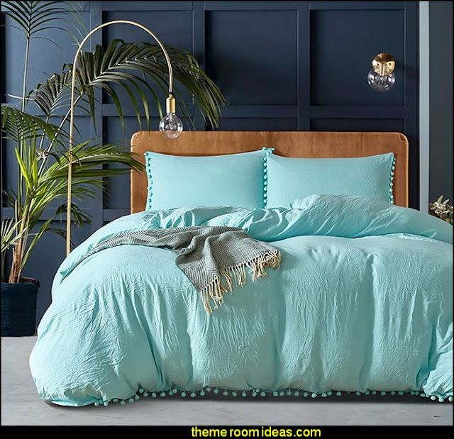 Blue Solid Color 100% Natural Wash Cotton 3 Piece Duvet Cover Set