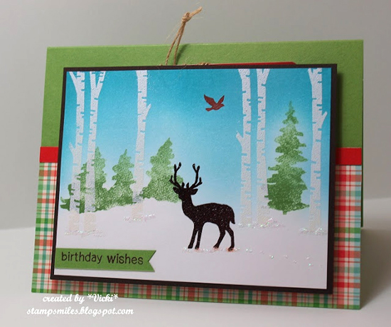 Inky Paws Challenge 38 Winner | Deer Birthday Card by Vicki | Serene Silhouettes and Whispering Pines stamp sets by Newton's Nook Designs #newtonsnook