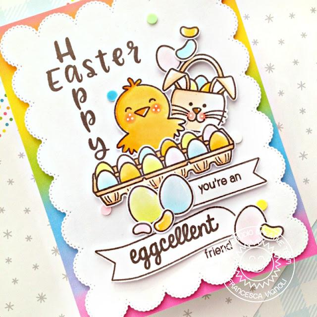 Sunny Studio Stamps: Phoebe Alphabet A Good Egg Banner Basics Frilly Frame Dies Easter Card by Franci Vignoli