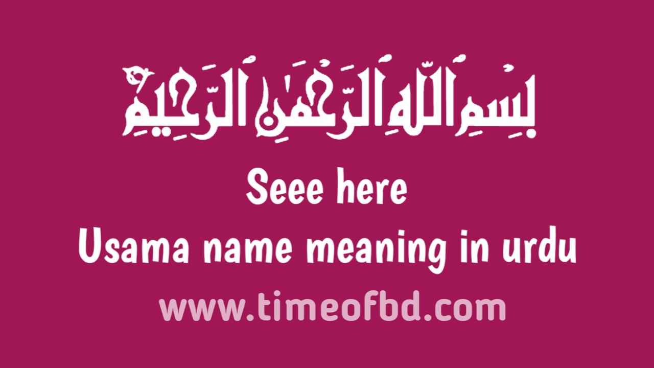 Usama name meaning in urdu, اسدو نام کا مطلب اردو میں ہے