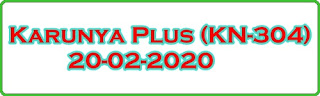 Karunya Plus (KN 304) 20-02-2020 Kerala Lottery Result