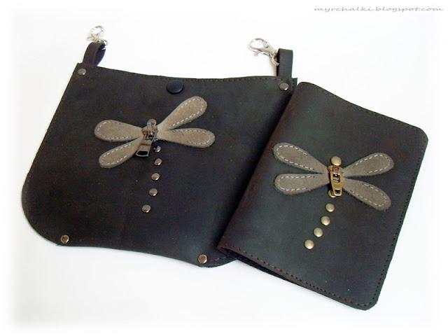 маленькая сумочка на пояс из кожи
