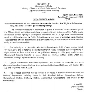 DoPT orders 2019 Guidelines of suo motu disclosure under Section 4 of RTI Act 2005