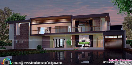 Wide contemporary house
