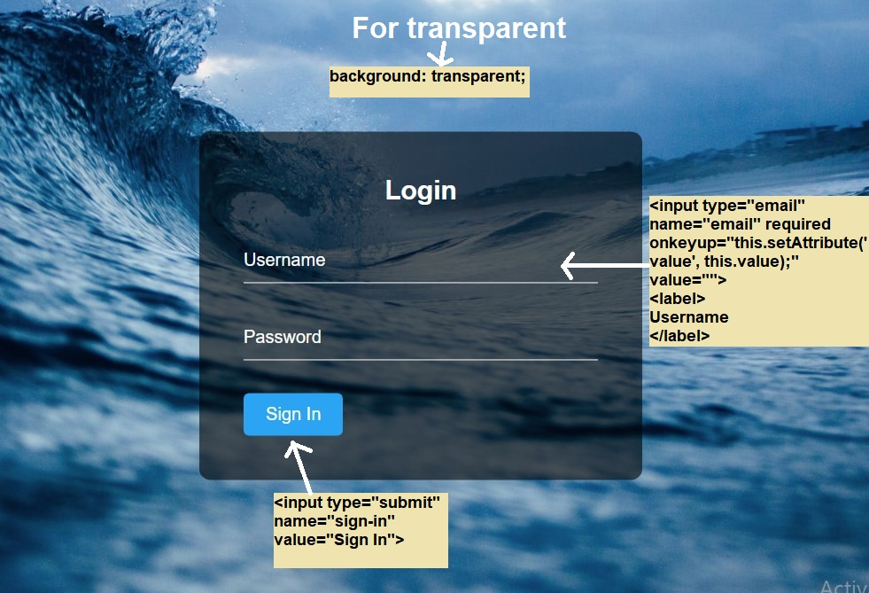 how to create a professional and transfer login form using only html5, css3