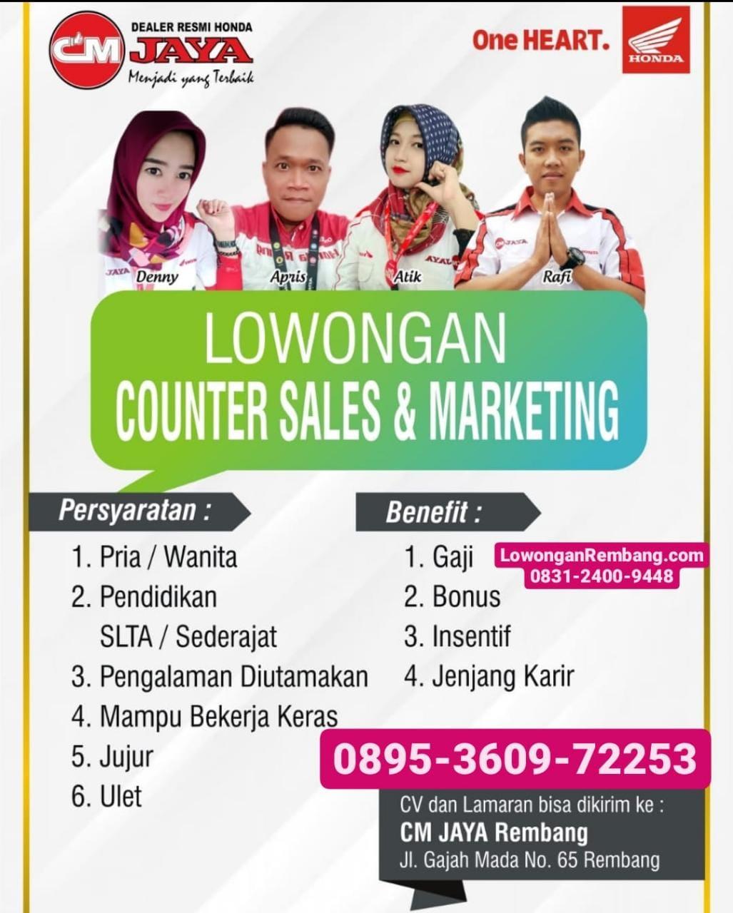 Lowongan Kerja Counter Sales Dan Marketing CM Jaya Honda Rembang Dapat Gaji Bonus Insentif
