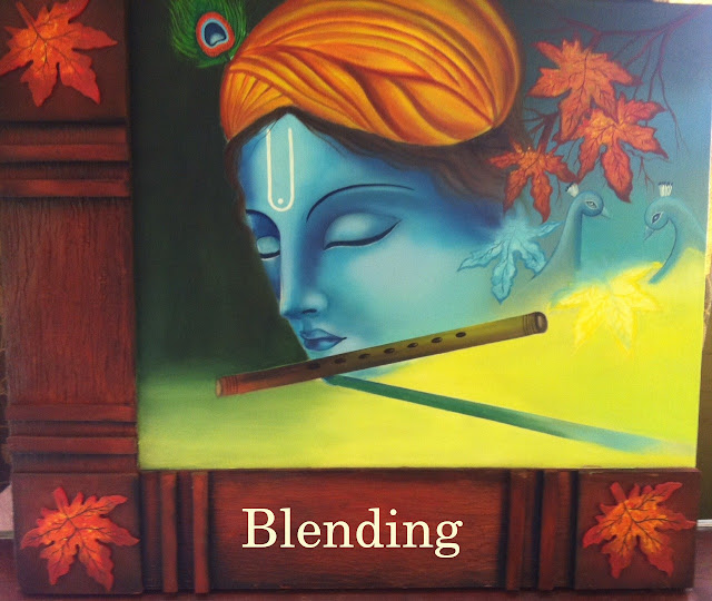 Krishna playing flute, acrylic painting with wooden frame
