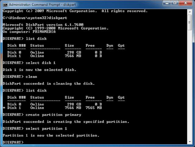 Format Flashdisk melalui Command Prompt - Computer
