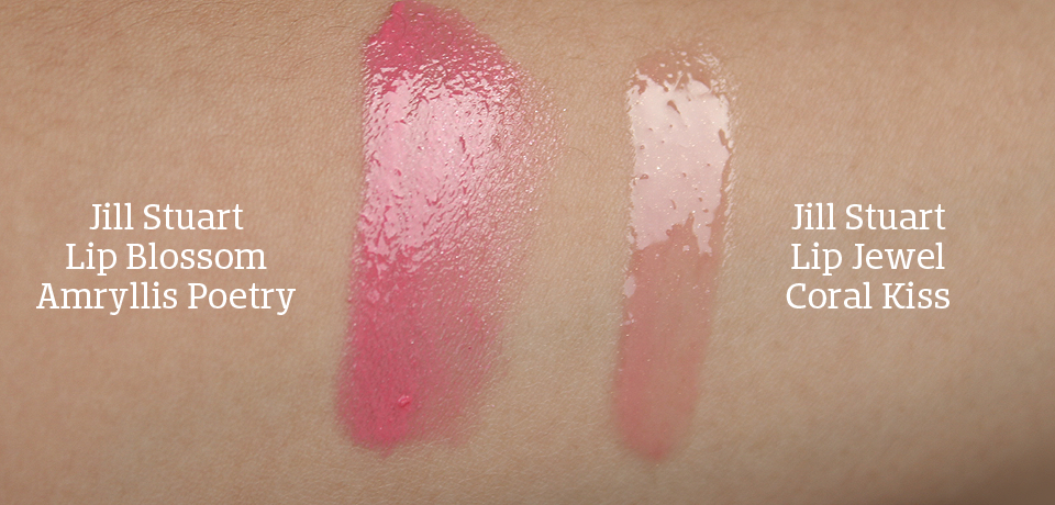 Jill Stuart Review Lip Jewel and Lip Blossom Swatches