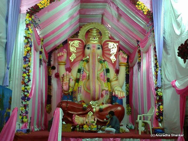A Tour of Ganesha Pandals   and some thoughts on the festival I remember a time when the Matunga Flower Market Ganesha used to be made of  flowers  Today  the Ganesha is a normal one  but the decoration is still