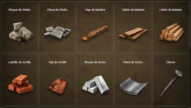 Materiales en Prospectors game