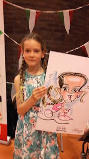 karikatuur tekening van model meisje met vlechten